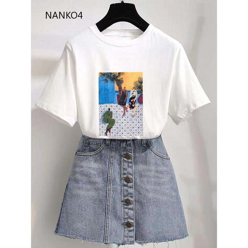 Áo thun nữ tay ngắn kiểu dáng đơn giản thời trang phong cách Hàn Quốc