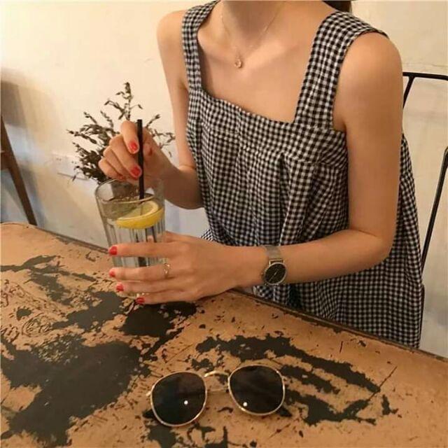 Áo crop top buộc nơ, áo kate nữ, áo hai dây cổ chữ U