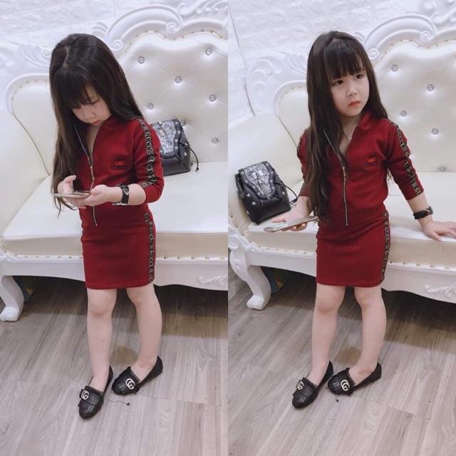 Bộ chân váy áo khoá gucci
