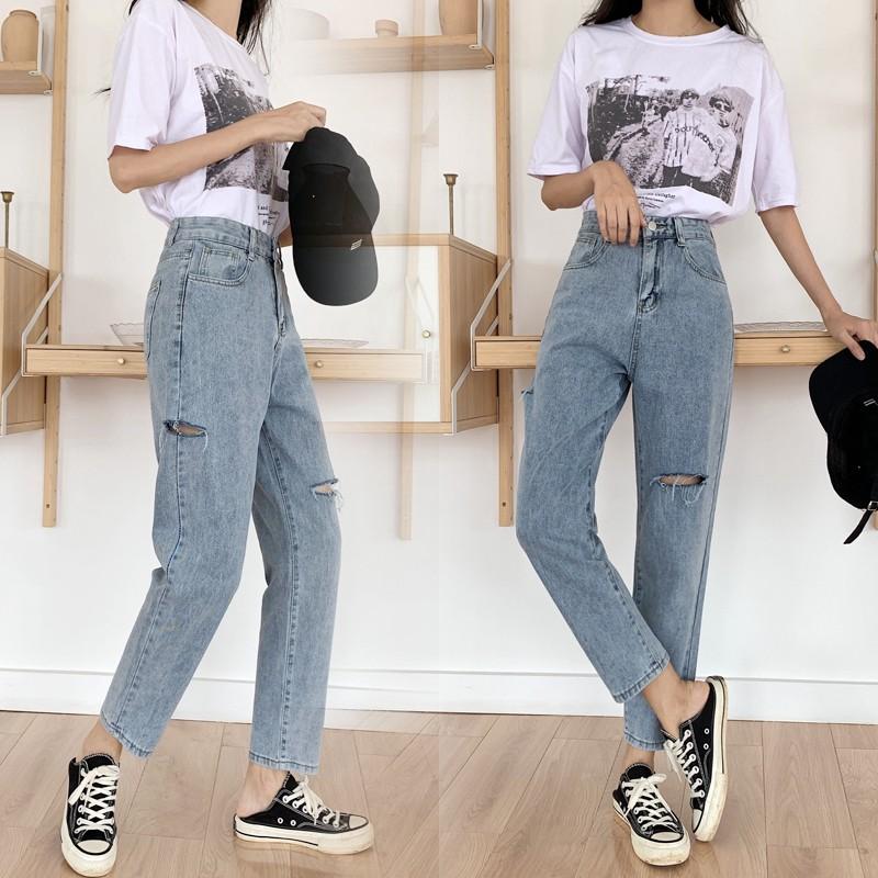 Quần Jeans rách phong cách retro Hàn Quốc