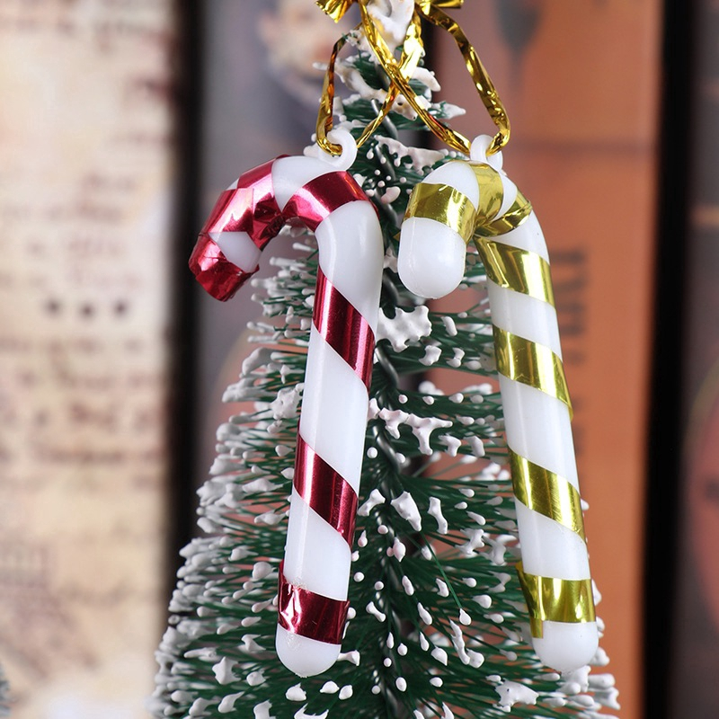 12 Pcs/2 bag Candy Cane Christmas Tree Hanging Ornament Pendant Decor Family Party Holiday Supplies
