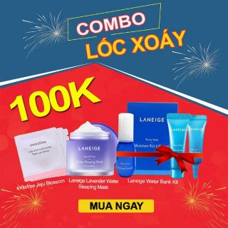 COMBO SỐC 100K LANEIGE WATER SLEEPING MASK + laneige cica sleeping mask+ innisfree jeju cherry blossom tone up cream 1ml