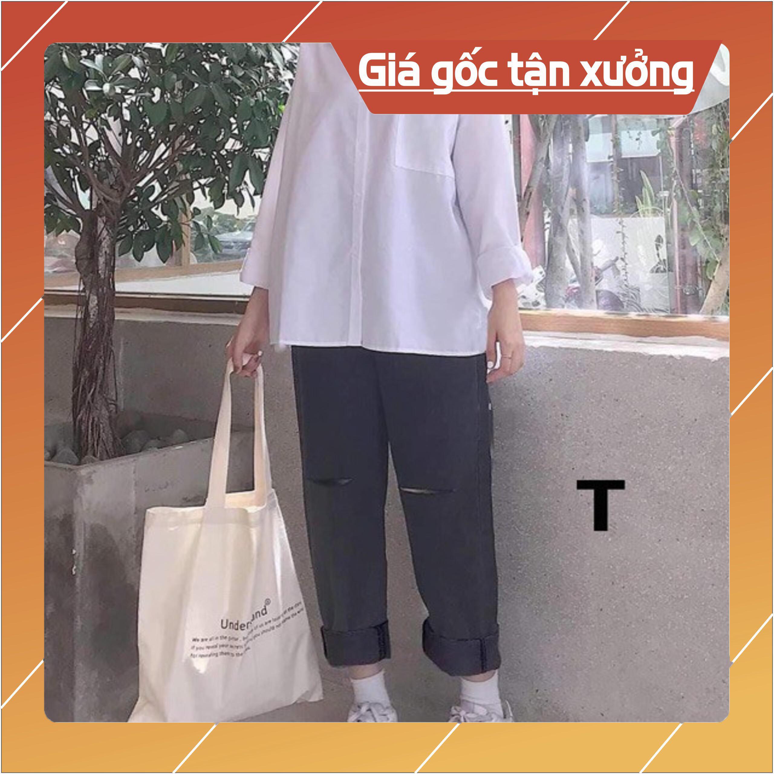 Sét quần jeans rách ống rộng kèm áo sơ mi trắng DTR0320