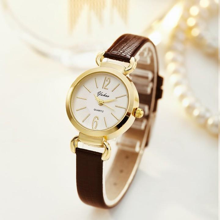 [Mã WTCHJAN giảm 20K ] (Giá sỉ) Đồng hồ nữ Yuhao HBS0331 dây da pu, mặt kính size 26mm