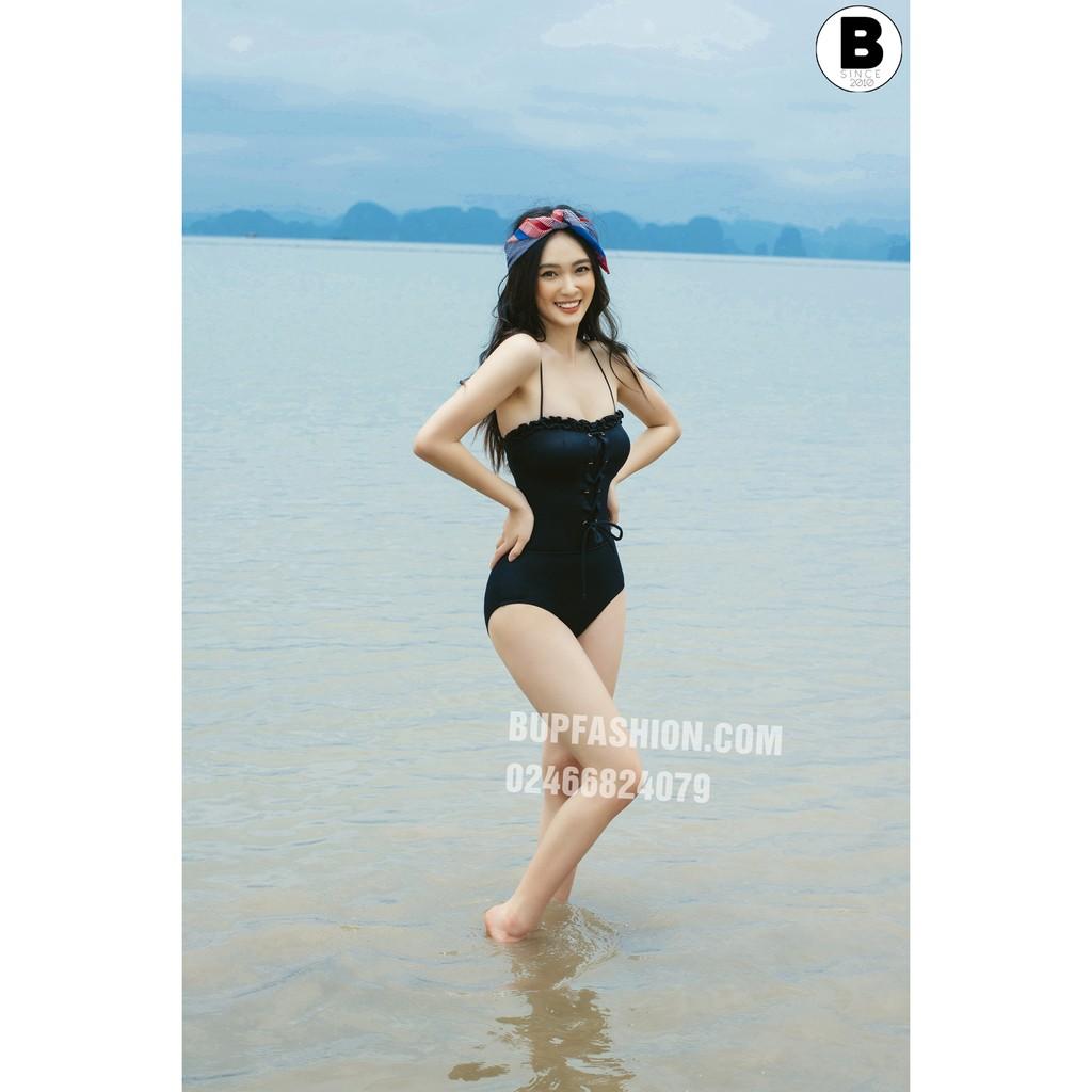 1P041 set bikini 1 mảnh dáng liền màu đen kèm chân váy | Hạ Sâu |