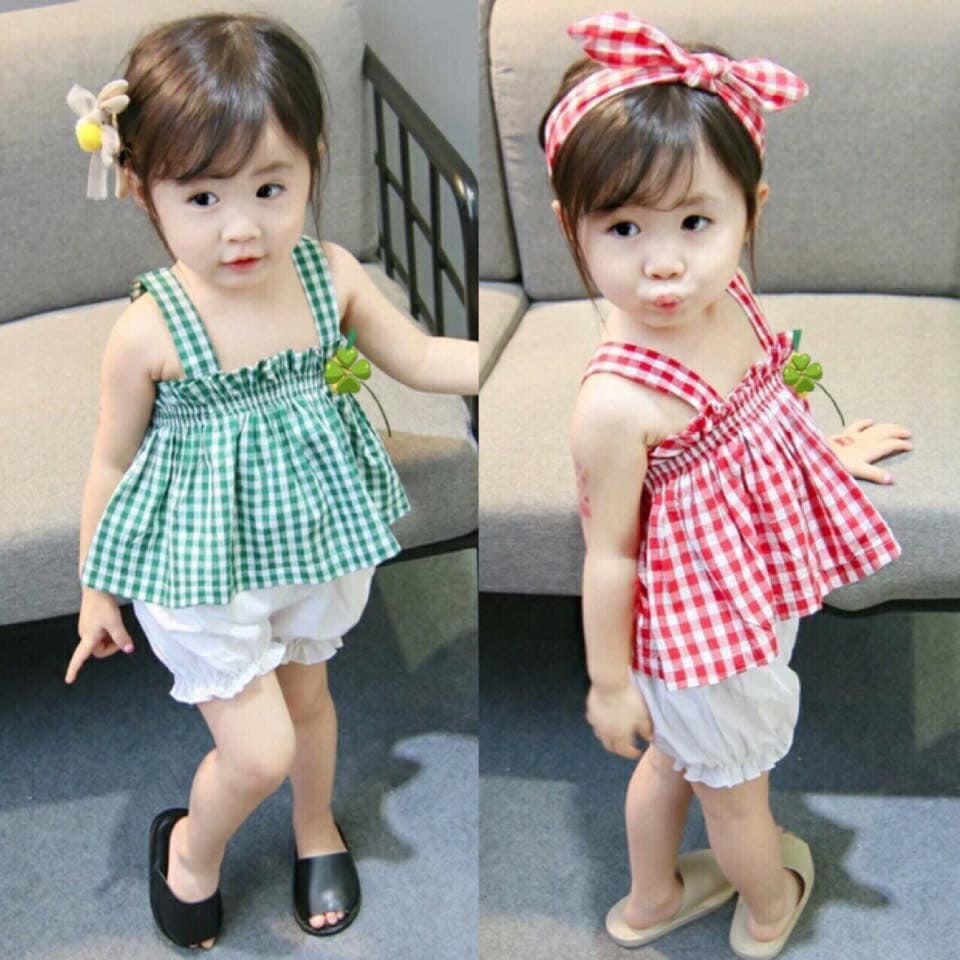 set áo 2 dây kèm quần cho bé gái