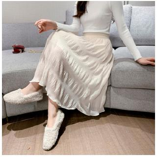 Elegant Spring Women Skirt Solid Color High Waist Casual Slim Chiffon Pleated Midi A-line Skirts