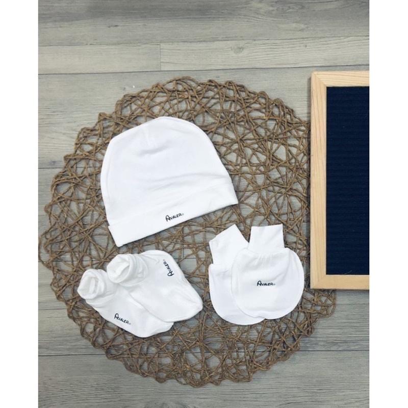 Set Avaler mũ và bao tay bao chân như hình(chất sợi tre- mẫu hoạ tiết các màu)