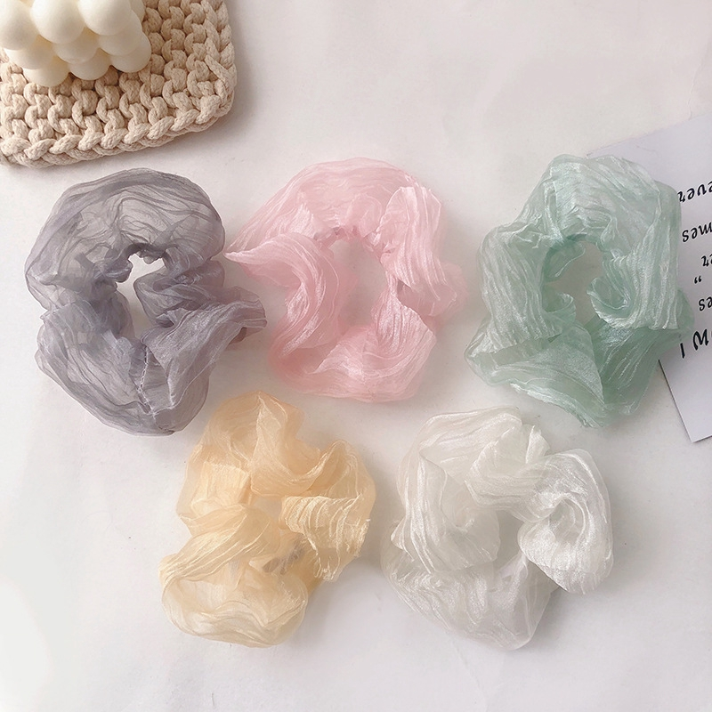 Japan and South Korea's New Mesh Solid Color Large Intestine Hair Ring Fashion Small Fresh Hair Rope
