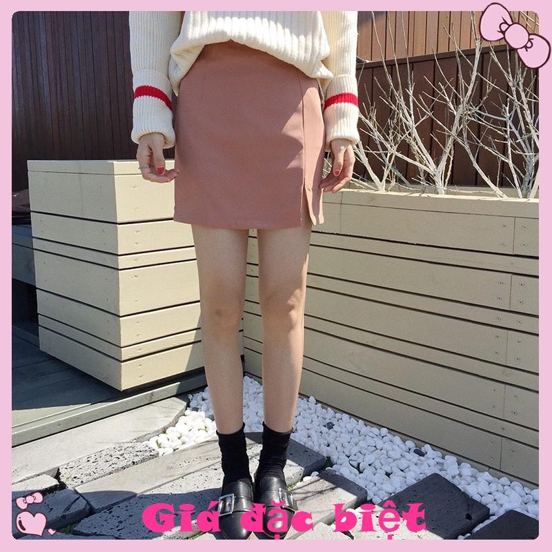 Chân váy mini lưng cao màu trơn phong cách retro
