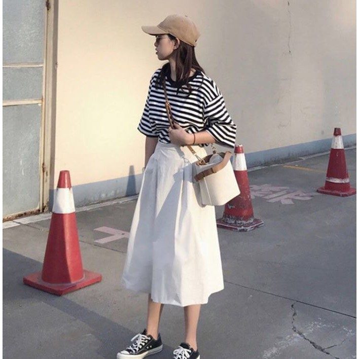 Set áo thun sọc trắng đen + quần trắng ống rộng❤️Tặng Quà VIP❤️Ưu Đãi Lớn-Hôm Nay - Đẹp, Phong cách trẻ trung,sang trọng