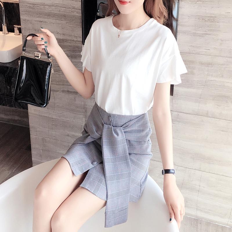 Set Áo Thun Tay Ngắn + Chân Váy Thời Trang Theo Phong Cách Hàn Quốc Cho Nữ