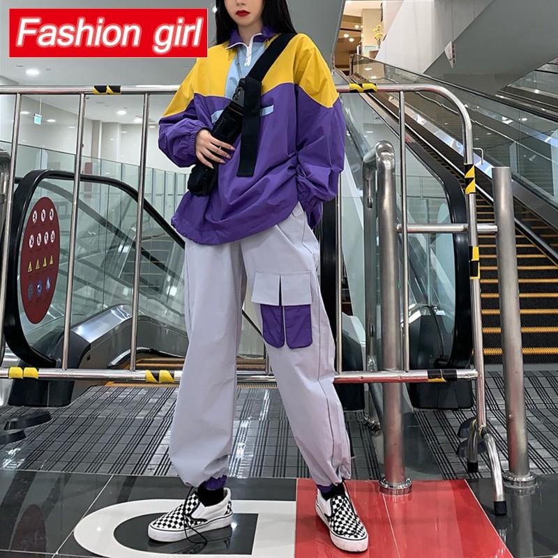 Set áo khoác hip hop dài tay cá tính và quần thể thao thời trang harajuku