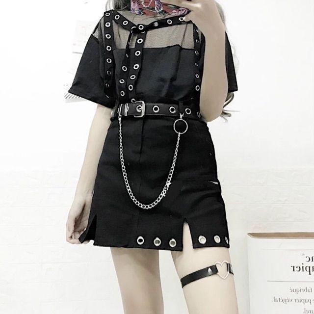 Set chân váy chain choker tim +belt chain