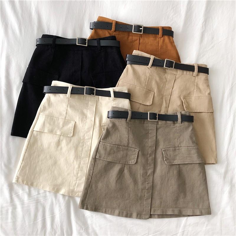 (ORDER) Chân váy dáng chữ A cạp cao kèm đai thắt lưng giả hai túi ôm dáng cá tính style Hong Kong