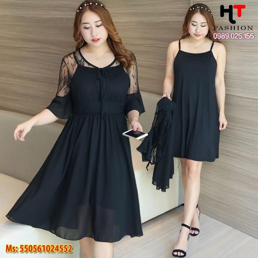 [Váy đầm big size HT-Fashion] Đầm voan đen 2 lớp rời big size