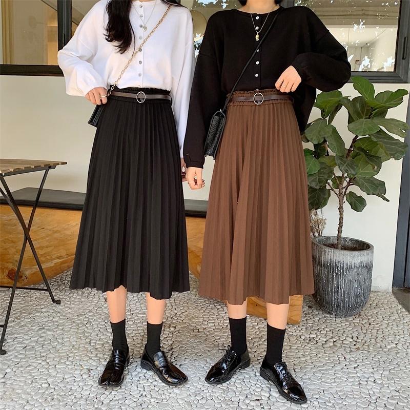 Chân váy chữ a dài xếp ly thời trang đáng yêu cho nữ