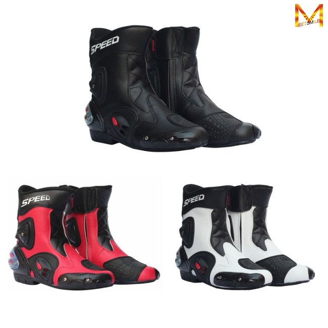 Hình ảnh Men Motorcycle Racing Shoes Leather Motorcycle Boots Riding Motorbike Motocross Off-Road Moto Boots