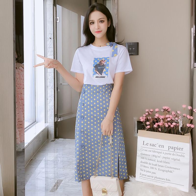 Set Áo Thun Ngắn Tay + Chân Váy Chấm Bi Thời Trang Cho Nữ