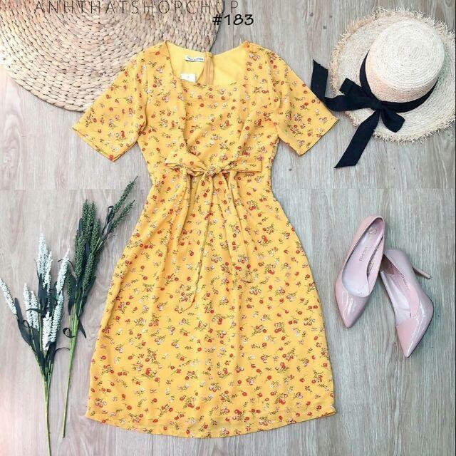 Đầm hoa nhí cột eo