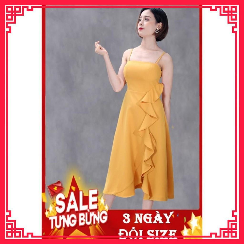 Váy Đầm Thiết Kế Cao Cấp - Vải Cát Hàn Mềm Mát Mịn Nhẹ - Váy đầm cồng chúa dáng xòe cúp ngực 2 dây bèo dài .