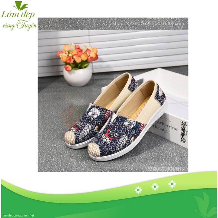 Giày lười nữ slip on họa tiết chiếc lá thời trang, rẻ đẹp màu xanh đậm