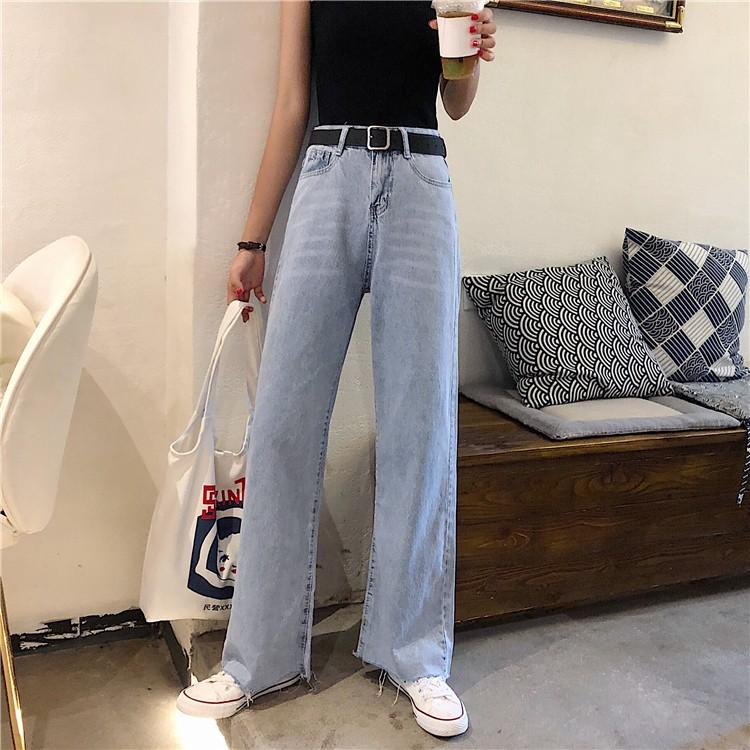 Quần jean denim ống suông kiểu dáng trẻ trung cá tính cho nữ