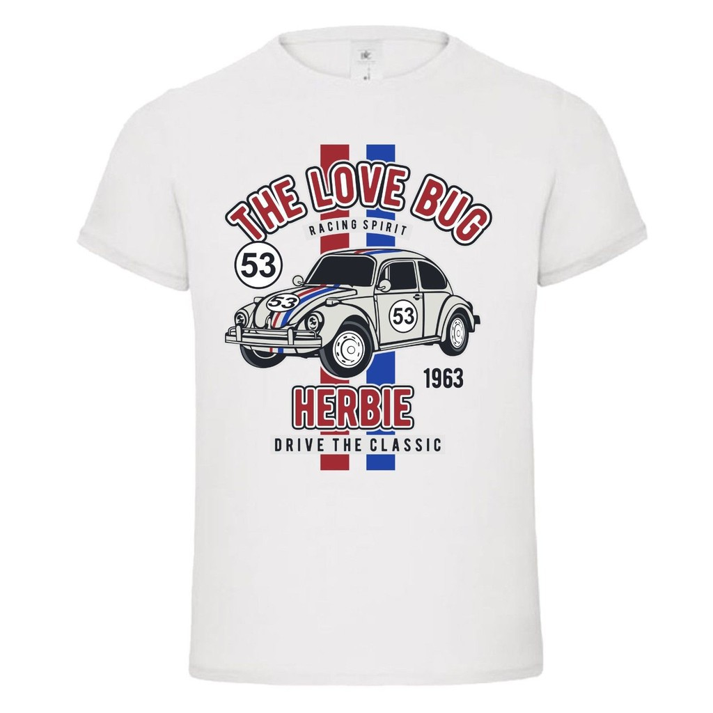 Áo thun nam ngắn tay cổ tròn in chữ The Love Bug Herbie 53 thời trang 2018