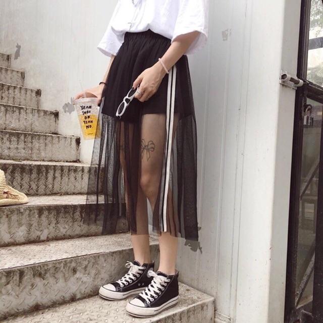 Chân váy lưới ny