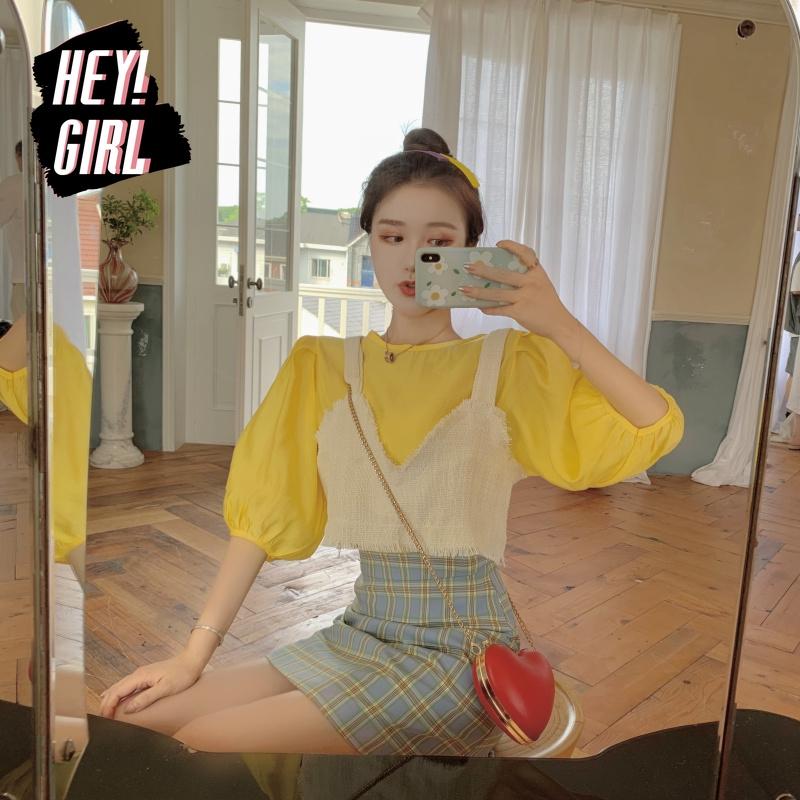 Set Áo Hai Dây Và Chân Váy Caro Xinh Xắn Cho Nữ