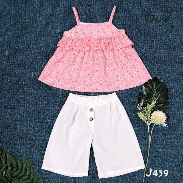 Bộ áo hai dây và quần đũi cho bé gái