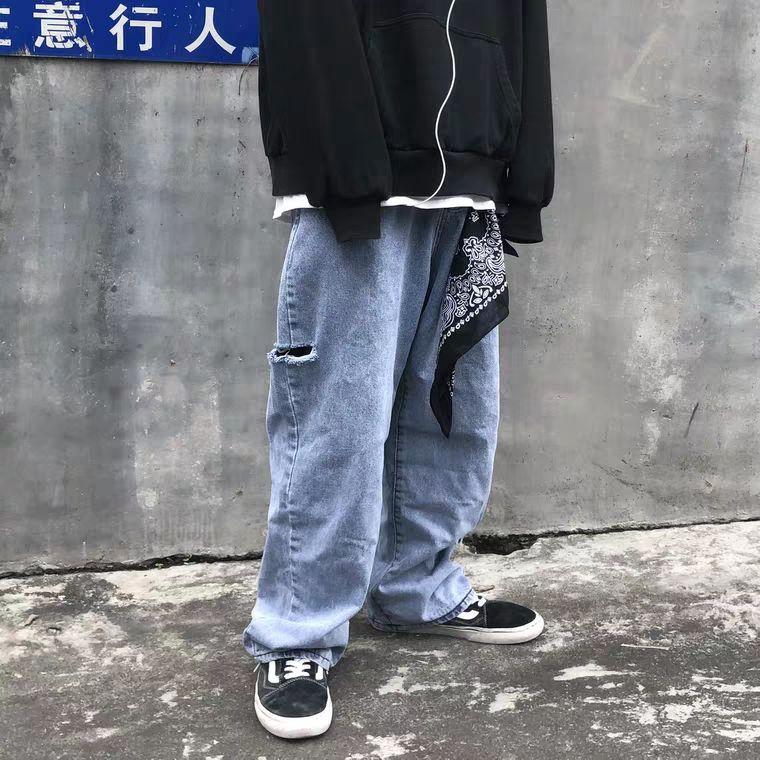 Quần Jeans Nam Ống Rộng Rách Gối Thời Trang Cá Tính