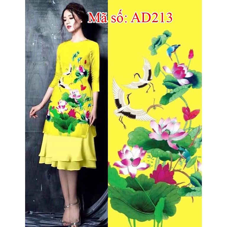 Set áo dài cách tân gấm họa tiết hoa sen vàng kèm váy dập ly 2 tầng AD213