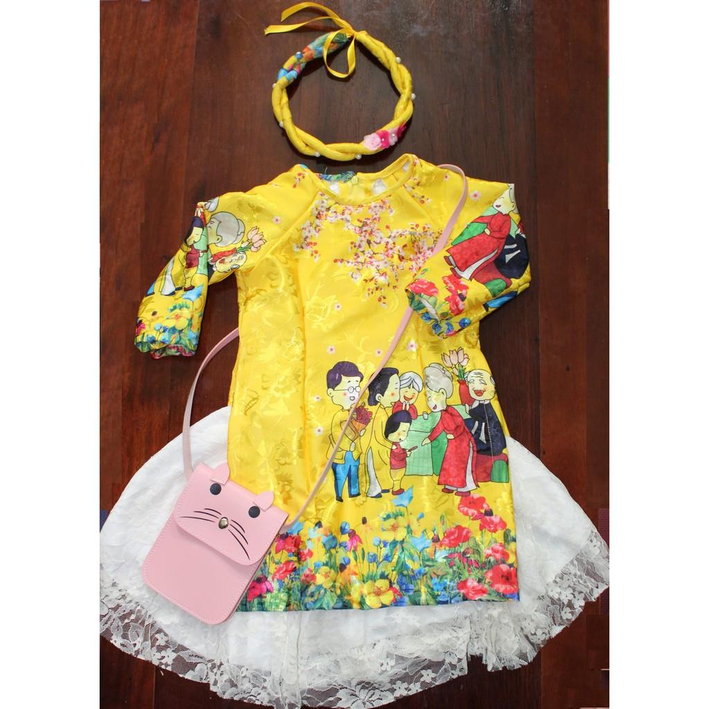 Set Áo dài cách tân gấm, Chân váy kèm Mấn bé gái 1-2 tuổi