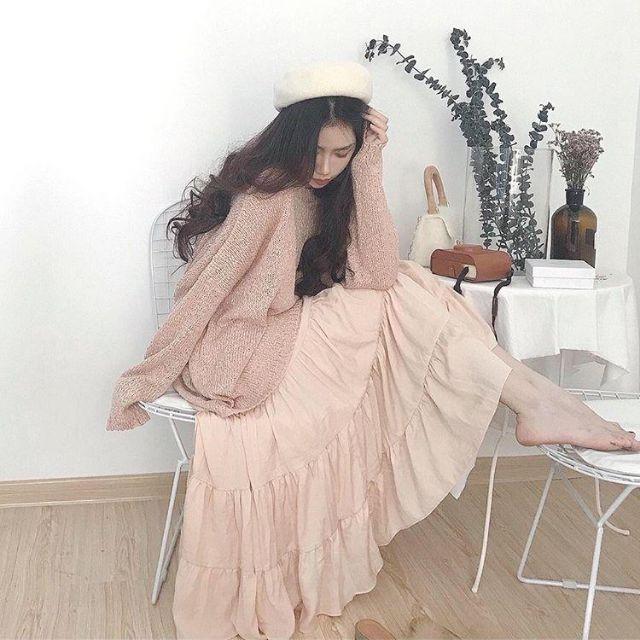 Chân váy xòe công chúa màu hồng nude mộng mơ ❤️ (ảnh thật 6 ảnh cuối)