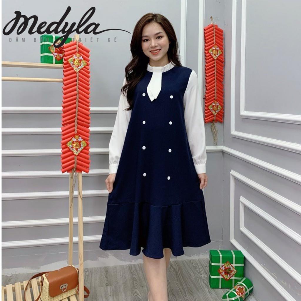 Váy suông chữ A, đầm bầu thiết kế đuôi cá cổ nơ đính cúc Medyla - VS237