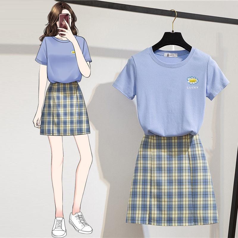 Set Áo Thun Tay Ngắn + Chân Váy Lưng Cao Sọc Caro Thời Trang Cho Nữ