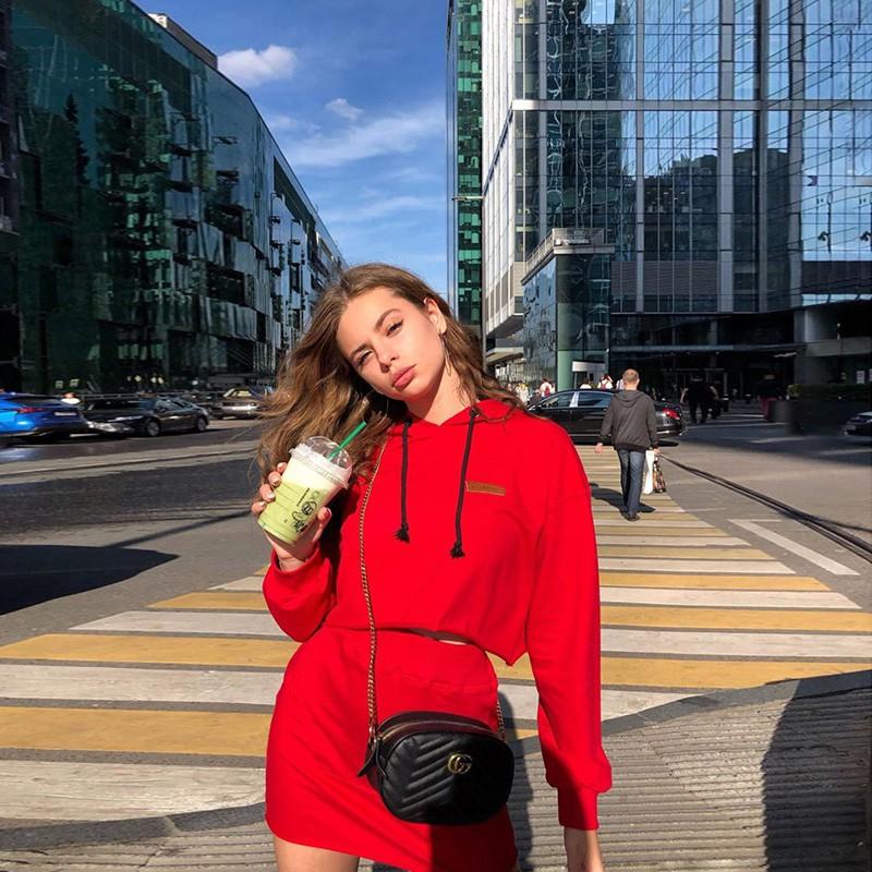 Set Áo Hoodies Có Nón Dài Tay + Chân Váy Lưng Cao Thời Trang Hàn Cho Nữ