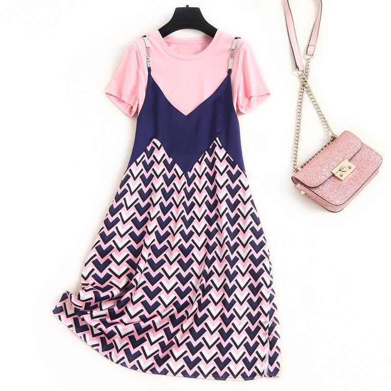Set Áo Thun Ngắn Tay Cổ Tròn + Chân Váy Lưng Cao Thời Trang Hàn Cho Nữ