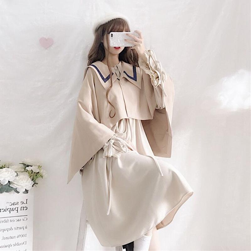 Bộ Áo Khoác Dài Tay + Chân Váy Xinh Xắn Theo Phong Cách Retro Hàn Quốc Dành Cho Nữ
