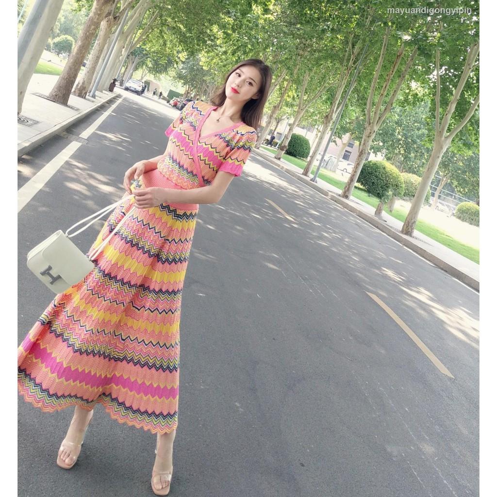Set Áo Len Cổ Chữ V Kẻ Sọc Ngang Phối Chân Váy Thời Trang Cho Nữ
