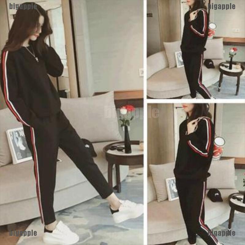 Set áo thun dài tay cổ tròn sọc vằn + quần dài thể thao cho nữ