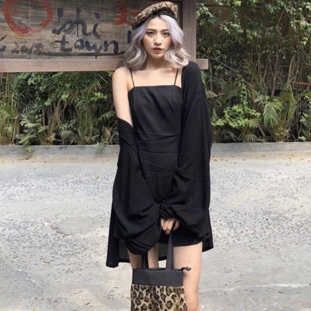 Set nữ đầm 2 dây mix áo khoác cá tính với 2 màu trắng, đen