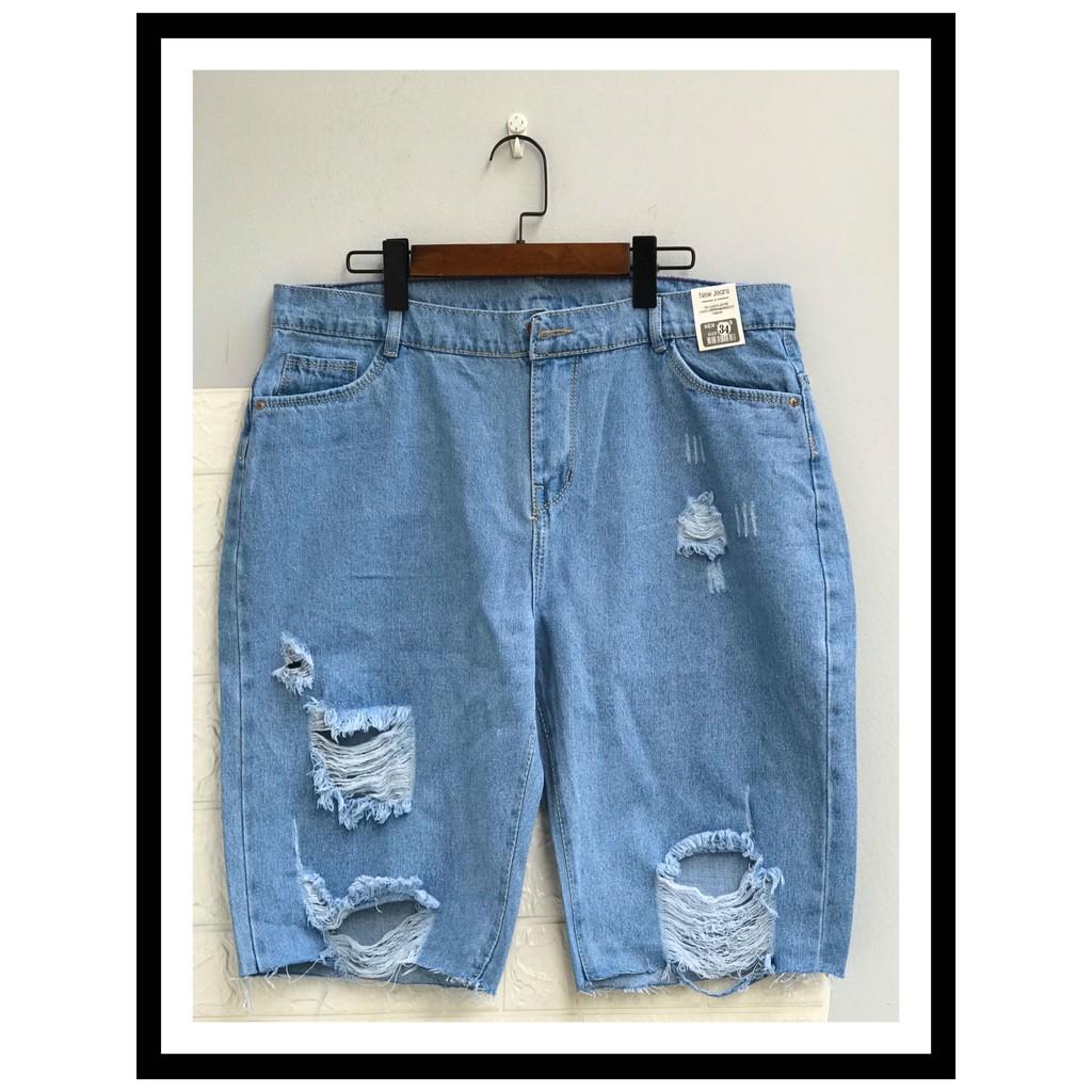 [HOT] Quần jean lửng ngố cotton bigsize rách lưng cao - quần bò lừng ngố cotton size đại không co dãn M01