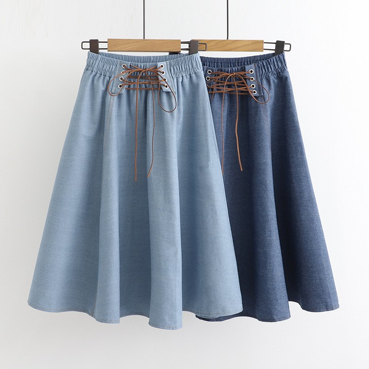 Chân Váy Midi Denim Dáng Chữ A Lưng Thun Thời Trang Cho Nữ