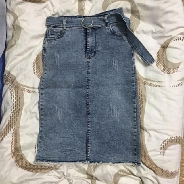 Thanh lý NEW chân váy bò dài qua gối size S
