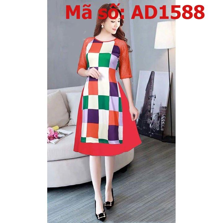 ⚡️ có big size 3XL ⚡️ AD1588 Set áo dài cách tân thun caro phối màu tay ren kèm váy