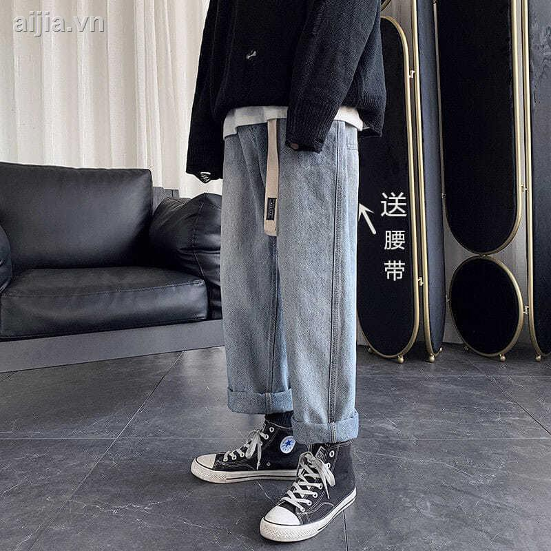 Quần jean nam✼✉Qiu dong with han edition men wide-legged pants jeans leisure comfortable popular logo students nine poi