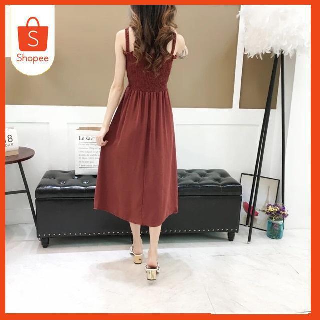 Váy nữ hai dây kiểu dáng dài đầm maxi