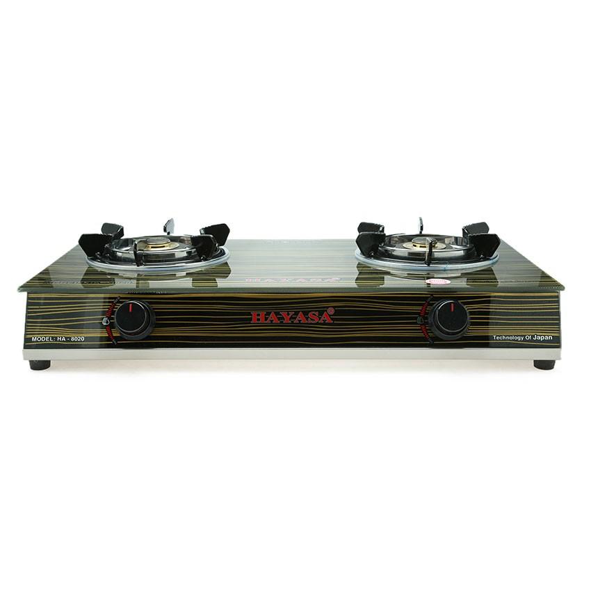 Bếp ga đôi kiếng cường lực cao cấp Hayasa HA-8020 Điếu Inox - Sen Đồng [nhập mã HOMEMALL06-GIẢM 12%]